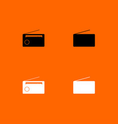 Radio black and white set icon vector