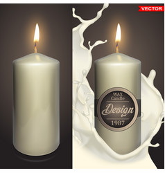 Realistic big white wax candles design vector