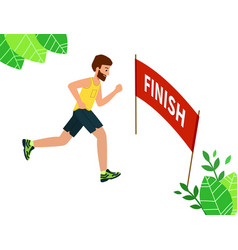 Runner wins race finish line concept of vector