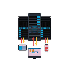 server room and connection with computer vector image