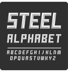 Set letters alphabet steel color vector