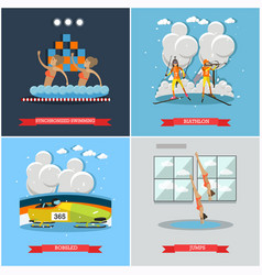 Set of winter and water sports concept flat vector