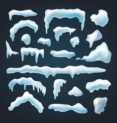 Set snow caps snowdrifts various shapes vector
