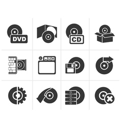 Silhouette Computer Media and disk Icons vector