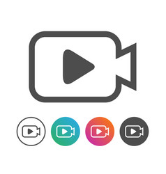 Simple camera video icon symbol design set vector