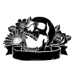 skull hipster skull silhouette with mustache and vector image