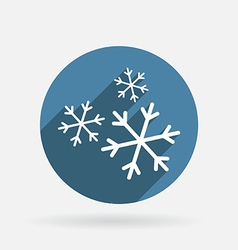 Snowflake Circle blue icon with shadow vector