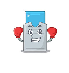 Sporty boxing key card mascot character style vector