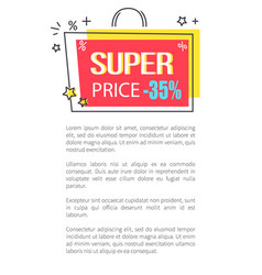 Super price promo poster with shopping bag sticker vector