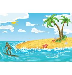 Surfer girl in water vector