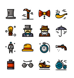 Thin line gentleman icons set vector