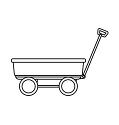 Wagon icon cartoon black and white vector