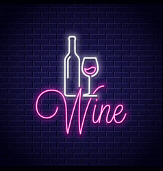 wine neon banner bottle and wine glass neon sign vector image