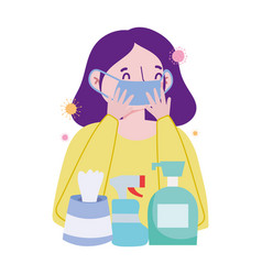Woman with mask soap bottle spray and tissues box vector