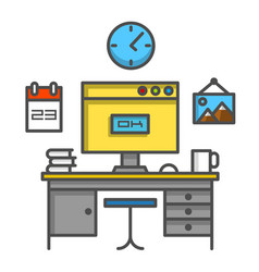 Working computer desk vector