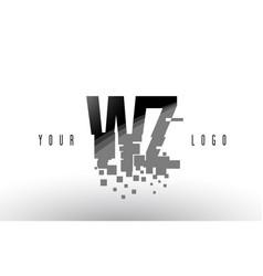 Wz w z pixel letter logo with digital shattered vector