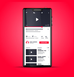 you tube video app template on smartphone screen vector image