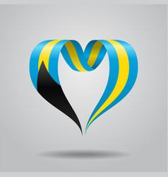 bahamas flag heart-shaped ribbon vector image vector image