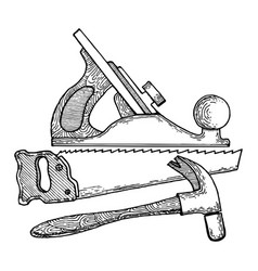 carpentry tools engraving style vector image vector image