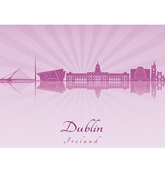 Dublin skyline in purple radiant orchid vector image vector image