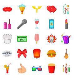 Fare icons set cartoon style vector