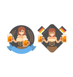 girl with beer oktoberfest style vector image