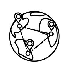 logistics worldwide delivery line icon vector image
