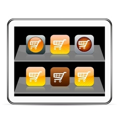 Orange Shopping cart app icons vector image