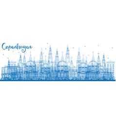 Outline copenhagen skyline with blue landmarks vector