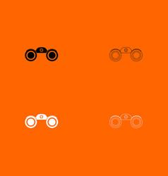 binoculars black and white set icon vector image