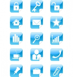 blue web icons stickers set vector image vector image