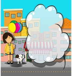Border design with girl and dog vector