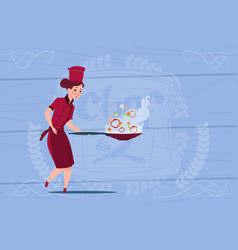 female chef cook holding frying pan cartoon in vector image vector image