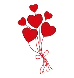 red heart balloons icon vector image vector image