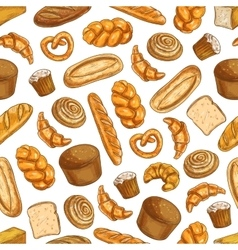Bakery fresh baked bread seamless sketch pattern vector image vector image