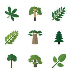 flat icon ecology set of leaves tree maple and vector image