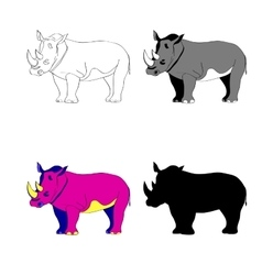Image rhino line silhouette vector image vector image