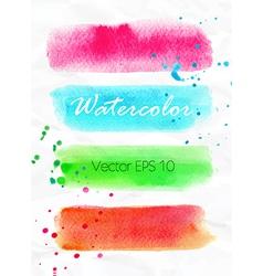 Set of watercolor stripes bright design elements vector image