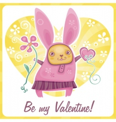 valentine rabbit vector image vector image