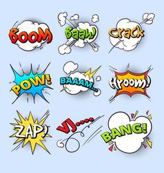 cartoon speech bubbles explode bang sound with vector image