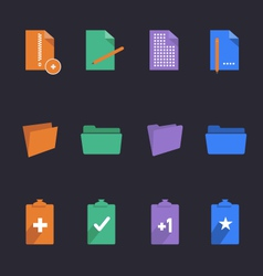 Stylish folders and documents icons vector image vector image