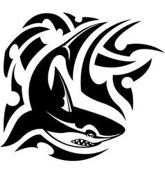 Tribal tattoo of shark vector image