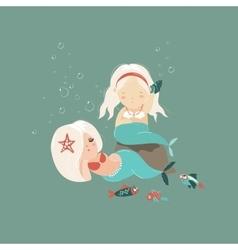 Two little beautiful mermaid girls vector image vector image