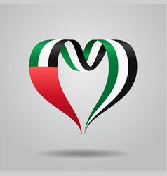 united arab emirates flag heart-shaped ribbon vector image vector image