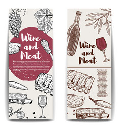 Wine and meat banner template grilled steak ribs vector