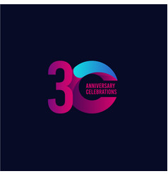 30 years anniversary celebration purple and blue vector