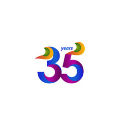 35 years anniversary celebration elegant blue vector