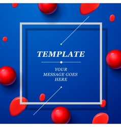 Abstract blue template with red drops spheres vector