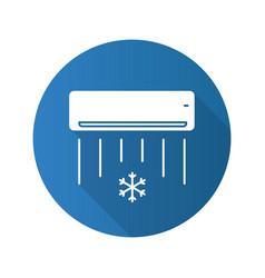 Air conditioner flat design long shadow glyph icon vector