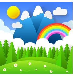 beautiful seasonal background with bright rainbow vector image